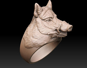 Boar ring jewelry 3D printable model