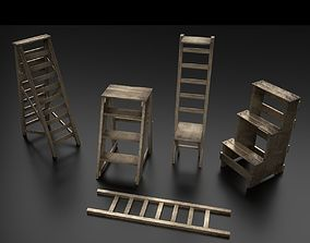 Wood Ladder Pack 3D asset