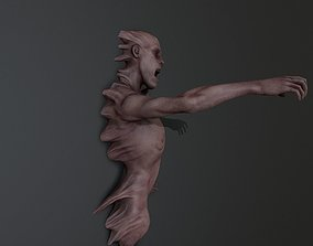 Horror man Mutated on wall ANimated 3D model
