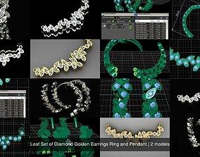 3D model Leaf Set of Diamond Golden Earrings Ring and 1
