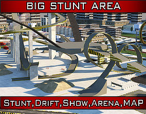 3D asset Stunt Arena Car Show Area map