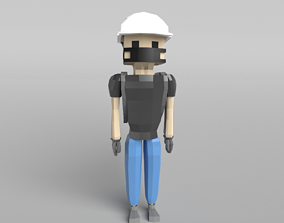 Low Poly Protestor Type 5 3D asset