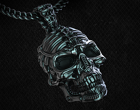 Biomechanical Skull Pendant Silencer with 3D print model 2