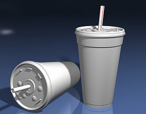 Styrofoam Cup with Plastic Lid and Straw 3D model