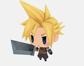 Cloud from World of Final Fantasy 3D model