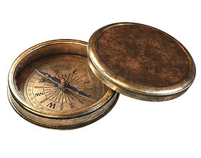 Vintage Brass Compass 3D model with PBR PBR