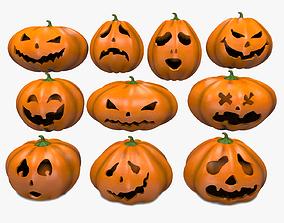 Halloween Pumpkins Emoji Set 3D model