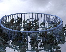 3D model Railway bridge over water with jungle