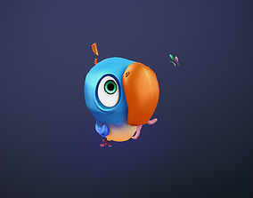 Hand painted bird 3D model