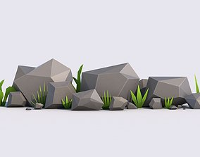 Grass and Stones Pack 3D asset