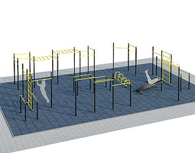 3D model Sports ground with pull up bars