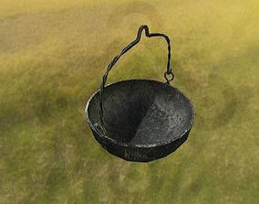3D model realtime Early medieval forged cauldron
