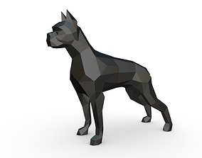 3D print model interior boxer dog low poly