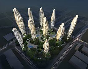 3D model Posh High Rise Skyscrapers