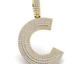 jewellery Custom 3D Initial C Letter Pendant