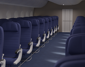 Boeing 747 Airplane Economy Seats 3D model