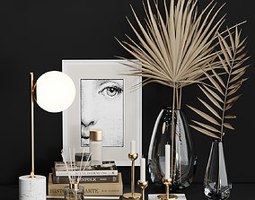3D West Elm Decorative set with Dry Palm and books