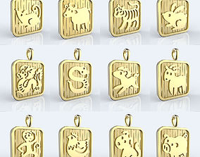 3D print model Chinese 12 animals zodiac pendants
