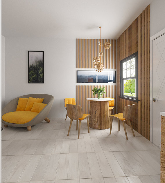 Eco-style apartment design and visualization
