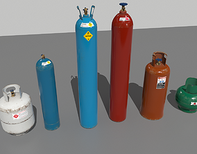 Industrial Gas Cylinders Pack 1 3D model realtime