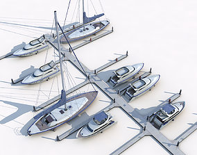 Piers and yachts model low-poly