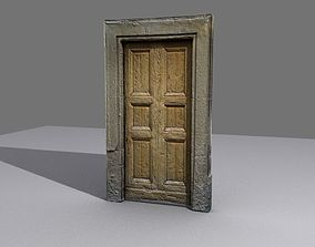 Door 8 Wooden with stone frame 3D asset
