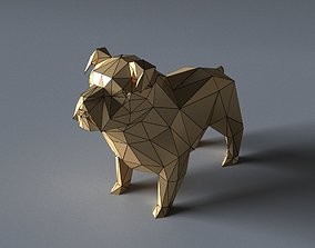 game-ready bulldog lowpoly 3D print model