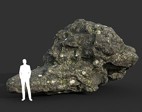 3D asset Low poly Damaged Lichen Rock 14 190907