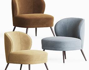 Kitts Chair Flax Linen Arteriors 3D