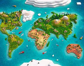 3D asset Cartoon Low Poly Earth World Map 2