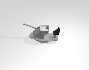 WW2 gun turret 3D asset low-poly