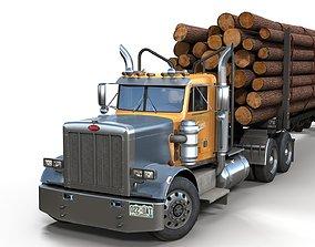 3D asset Peterbilt 359 log trailer