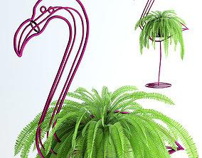 fresh Fern in pink flamingo sculpture 3D