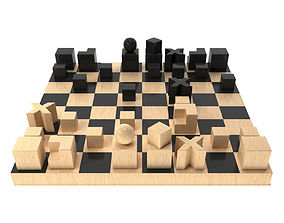 3D Bauhaus Chess Set by Josef Hartwig