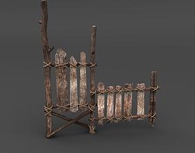 Wooden Fence 3D model fence