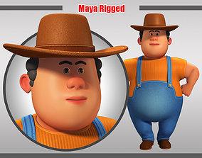 Cartoon Man Rigged 3D model game-ready