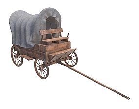 3D model wagon wooden covered