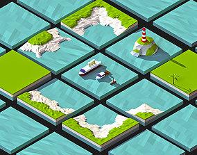 Modular Sea platforms 3d mode Low-poly pack VR / AR ready
