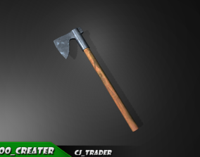 realtime Modern Wood Axe Lowpoly 3d model
