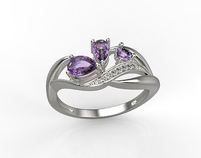 Women ring with gems and diamonds 3dm stl gem-stone