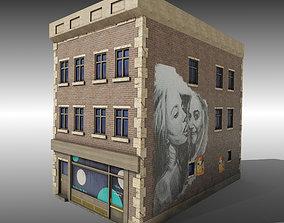 3D asset Low Poly Brick building with shop