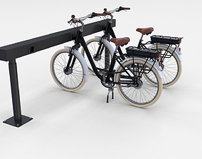 Electric City Bicycle and Station Black 3D