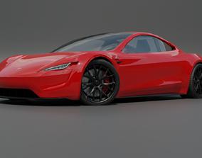 3D model Tesla roadster low poly