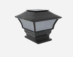 Solar Panel Lamp Cap Fence 3D asset