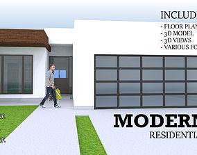 3D model MODERN RESIDENTIAL HOUSE - 1 STORY 4 BEDROOM 3 2