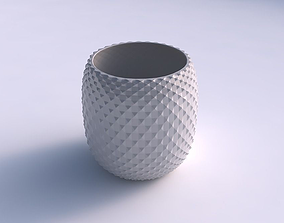 3D print model Bowl cylindrical with grid piramides