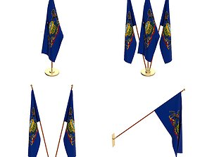 Pennsylvania Flag Pack 3D model