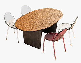 Roche Bobois patchwork dining table 180 loop chair 3D