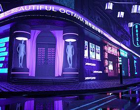 Sci-fi neon city 3D model