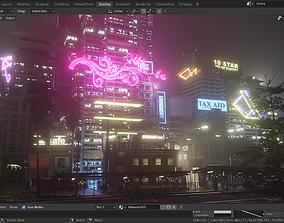 exterior 3D cyberpunk city